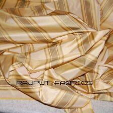 "56"" Wide 100% Silk Taffeta Shantung Fabric Pale Yellow Sage Stripes Banana Cream"