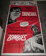 DRACULA PRINCE OF DARKNESS/THE PLAGUE OF THE ZOMBIES orig large 3-sheet poster