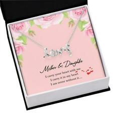 Women Jewelry Daughter Mom Scripted Love Necklace Steel Pendant Birthday Gift