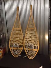 Antique/Vintage Wood Torpedo Snowshoes Wood And Leather 14 X 48 Canada Megantic