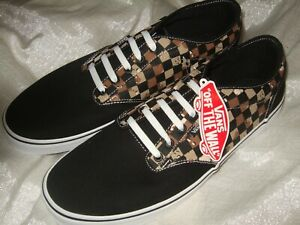 VANS Men's Atwood CAMO Check BLACK/WHITE lace up Skate board Shoes Camouflage
