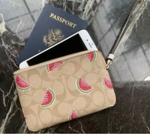 NWT COACH Corner Zip Wristlet In Signature Canvas With Watermelon Print