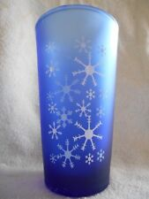 Snowflakes Cooler Highball Tumbler (s) 16 oz Glass Anchor Hocking? Cobalt Blue !