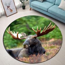 Round Area Rug Room Decor Yoga Carpet Jungle Moose Floor Door Non-slip Beach Mat