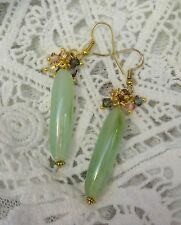 Green Beads and Small Swarovski Crystal Beads Earrings