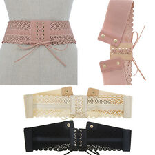 Women Western Fashion Corset Lace Up Elastic Stretch Waist Belt PU Leather Wide