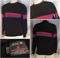 Demetre Ski Sweater M Women Blue 100% Wool Purple Stripe Hong Kong YGI A9-795