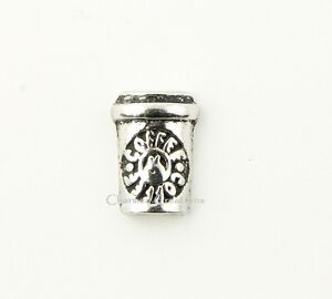 10pc Lot Silver Coffee Cup Espresso Latte Cappuccino Floating Charm For Lockets