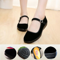 Women Chinese Mary Jane Shoes Ballerina Velvet Suede Fabric Flats Cotton Sole