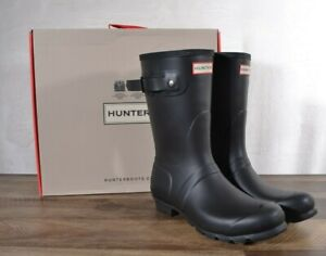 Hunter Women's Black Matte Rubber Rain Boots Original Short 9 MED WFS1000RMA