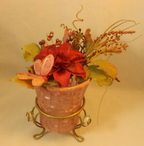 """Pink Mosaic Votive Candle with Artificial Flower Arrangement (vase & stand 5.5"""")"""
