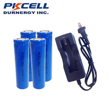 PKCELL 4×18650 3.7V 2200mAh Li-ion Rechargeable Battery Flat Top+18650 Charger