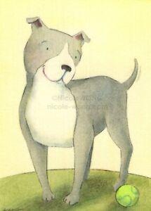ACEO PRINT - HAPPY PIT BULL - dog, pet, terrier, tennis ball, sweet, art, artist