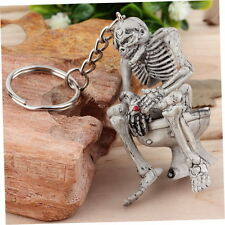 Skeleton on Toilet Key Chain Key Ring Novelty Gift Rubber / Metal Ring 0F
