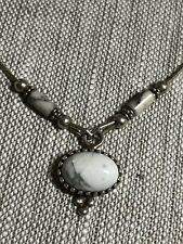 "vintage style STERLING HOWLITE SOUTHWEST NECKLACE 16"" SIGNED Q.T. GREAT PRICE!"