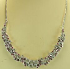 Statement Blue Topaz & Ruby Necklace Sterling Silver Bridal Wedding