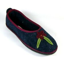 Coolers Womens Navy Blue & Burgundy Felt Slippers Size UK 6 EU 39