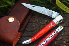 DKC-93 MT. TAM Damascus Folding Laguiole Style Pocket Knife Red Pakka Wood 4.5