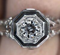 Art Deco FIlligree .25ct Old European Cut Diamond Engagement Ring Circa 1920's