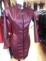 Misfitz burgundy leather look padlock dress 2 way zip size 22 TV CD Steampunk