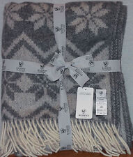 "KLIPPAN ALASKA PATTERN GRAY 100% LAMB WOOL THROW BLANKET 70"" X 51"" NEW WITH TAGS"