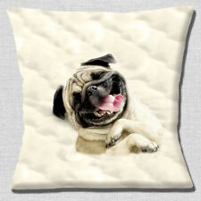 "NEW CUTE SLEEPY PUG DOG PHOTO PRINT WRAPPED IN DUVET 16"" Pillow Cushion Cover"