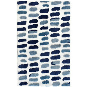 New Assorted Light & Dark Blue with White Soft Washable Polyester Microfiber Rug