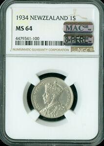 1934 NEW ZEALAND SHILLING NGC MAC MS-64 PQ 8-PERLS SPOTLESS POP-4 .