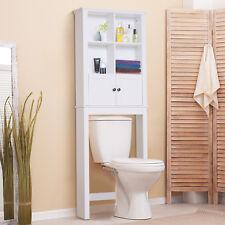 Over The Toilet Bathroom Shelf Restroom Storage Cabinet Organizer -White