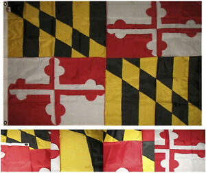 4x6 Embroidered Sewn State of Maryland flag 4'x6' banner grommets clips