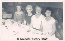 VINTAGE BLACK WHITE PHOTOGRAPH PHOTO OF 4 LADIES AT DINNER TABLE  1950S SOCIAL