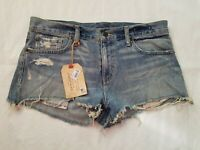 New DENIM&SUPPLY Ralph Lauren Distressed Blue Denim Jeans Shorts Women 27 or 3/4