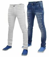 Mens Super Stretch Skinny Jeans Ripped Slim Fit Denim Trousers Pants Waist 30-36