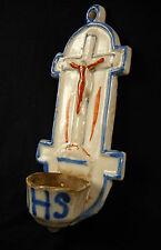 Ancien bénitier en faïence émaillée XIX glazed earthenware Holy water font 205mm