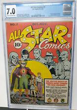 ALL STAR COMICS #7 ~ DC 1941 ~ CGC 7.0 FN/VF ~ 1ST SUPERMAN BATMAN TEAM-UP