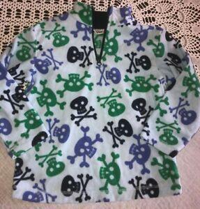 Hanna Andersson Boys 110 5-6 Light Blue Skull Fleece Pullover 1/4 Zip Jacket