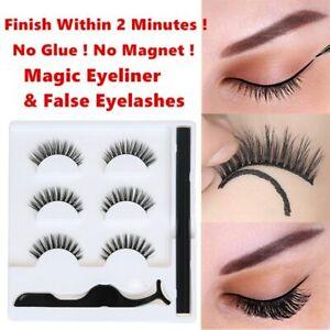 No Glue No Magnetic False Eyelashes & Tweezer Magic Eyeliner Lasting Eye Lashes
