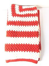 BEAUTIFUL CROCHET AFGHAN RED / WHITE 64 X 54 COUCH/SOFA THROW