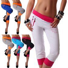 Damen Hose sportlich Sporthose Jogginghose Fitnesshose Zipper Neu S M L XL XXL