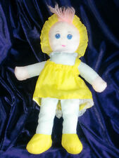 "WELL MADE TOY SOFT STUFFED CLOTH BABY GIRL DOLL 1985 16"" BLUE YELLOW PINK"