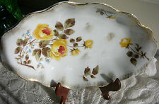 Vintage Oblong Oval Scalloped Serving Fruit Bowl Yellow Roses Gold Trim
