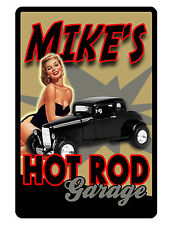 Personalized Garage Sign Printed w YOUR NAME Aluminum Glossy Custom Sign hotrod3