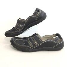 Clarks Women Sz 7M Haley Stork Black Leather Sport Shoe Removable Insole Comfort