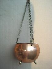 Vintage Cape Cod Brass Kettle Hanging Basket / Planter - Three Footed