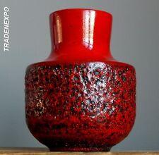 Vintage 60-70's STEULER Keramik 140/20 Fat Lava Red Vase W.German Pottery Art