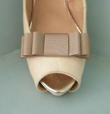2 Handmade Coffee Grosgrain Triple Bow Shoe Clips - other colours on request