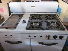 Vintage Gas Kitchen Stove White Double Oven Estate Heatrola Bar-B-Kwer
