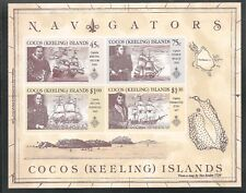 Cocos Islands #221a (A54) S/S Vf Mnh 1990 45c to $1.30 Explorers and Their Ships