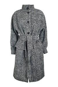 THE KOOPLES Grey Wool Blend Fuzzy Screen Mid Length Coat (EU 32 | UK 06)