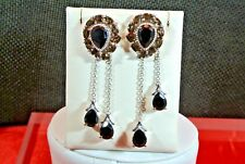 BLACK SPINEL,SMOKY QUARTZ PLATINUM OVER 925 S.S. JACKET EARRINGS SET TGW14.88cts